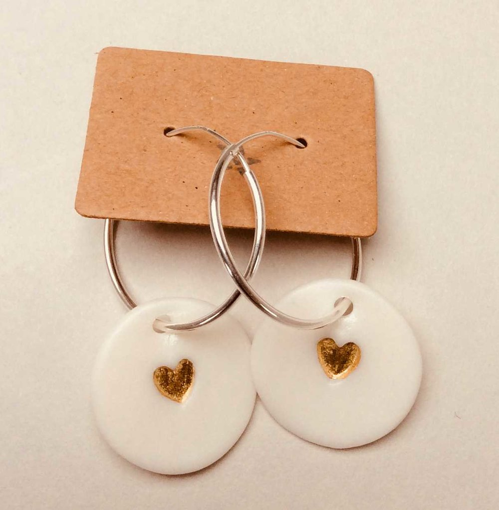 Circle Hoop Earrings with Hearts  Parian, 24ct Gold Lustre, Sterling Silver  £66