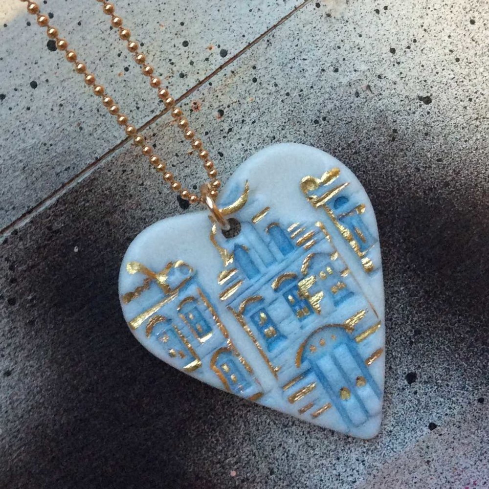 Heart with House Imprint Pendant  Parian, 24ct Gold Lustre, Gold Filled  £96