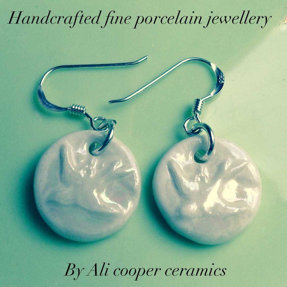 Circle Hoop Earrings with Dove  Parian, Sterling Silver  £66