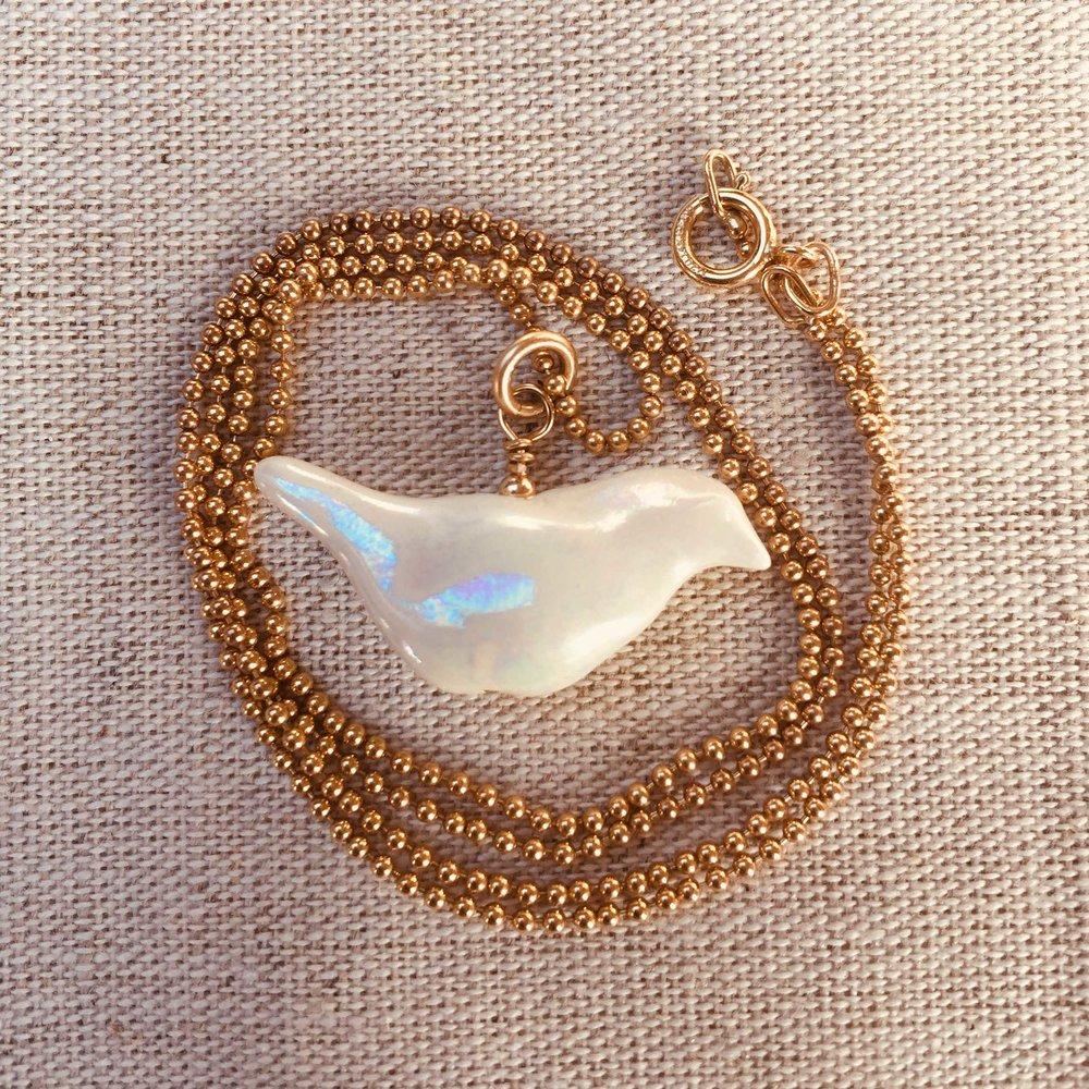 Mother of Pear Bird Pendant  Porcelain, Pearl Lustre, Gold Filled  £120