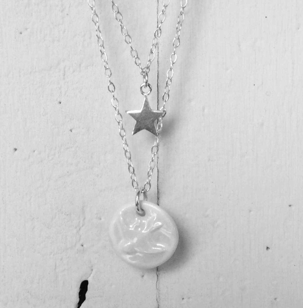Swallow Pendant & Star  Porcelain, Pearl Lustre, Sterling Silver  £85