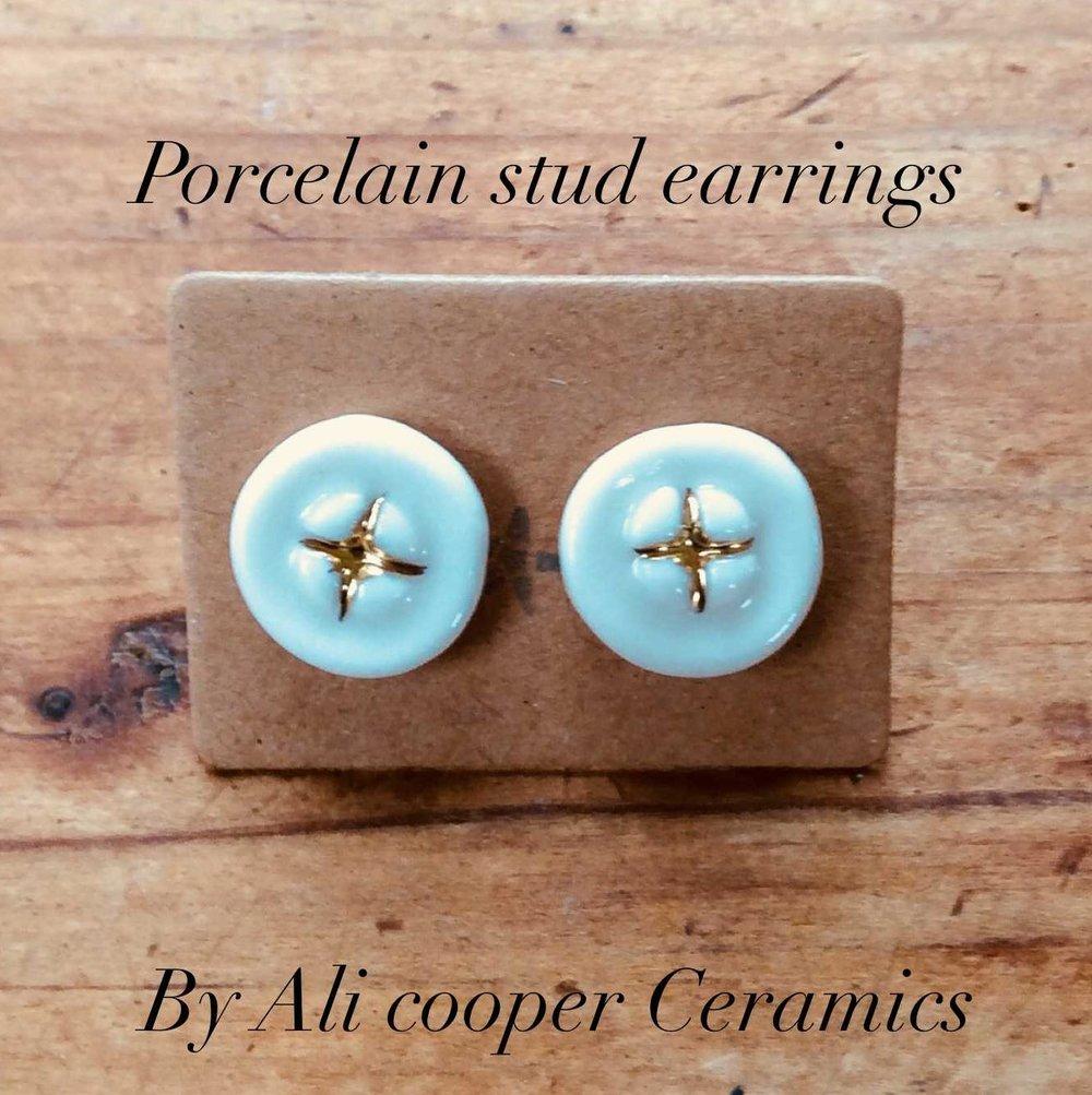 Circle Stud Earrings  Porcelain, 24ct Gold Lustre, Gold Filled  £44