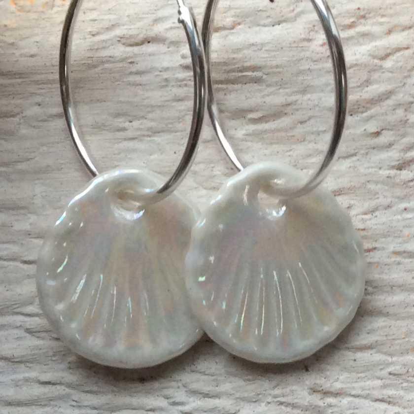 Shell Hoop Earrings  Parian, Sterling Silver  £66