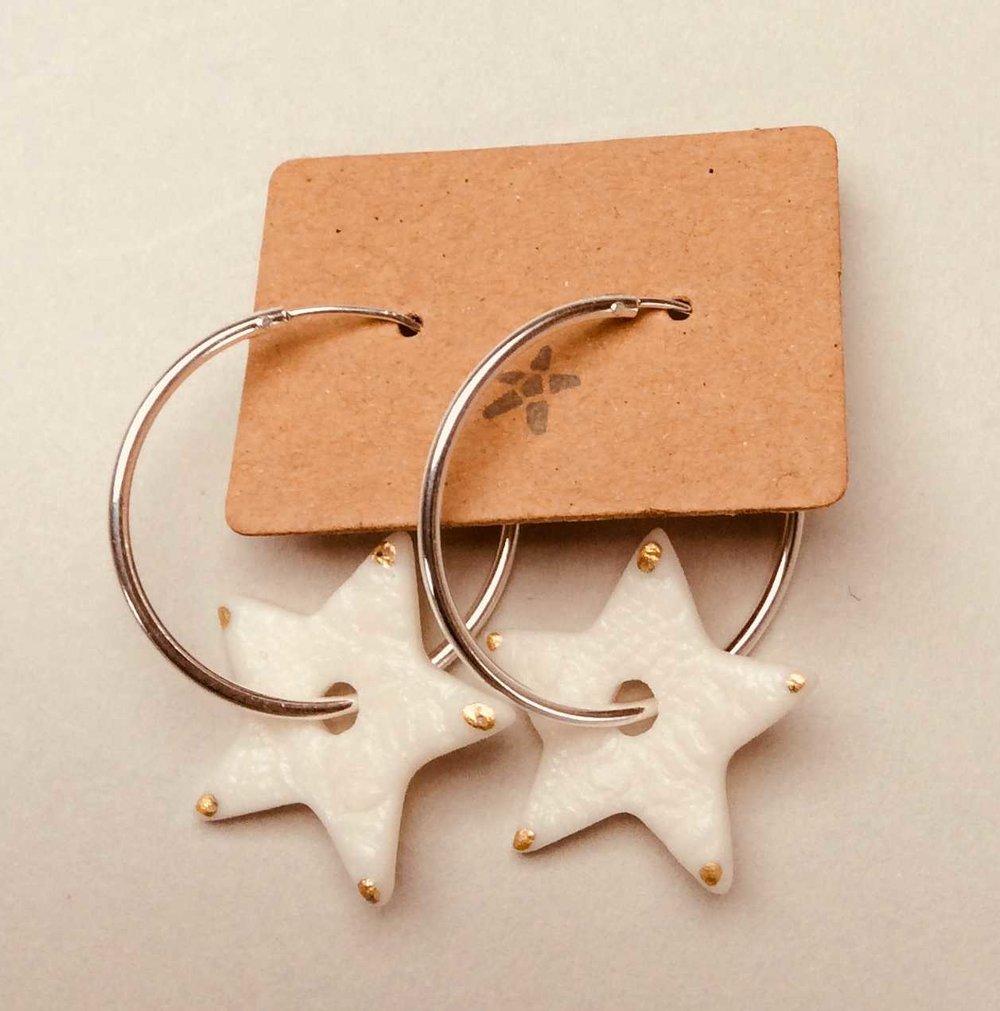 Star Hoop Earrings  Parian, 24ct Gold Lustre, Sterling Silver  £66