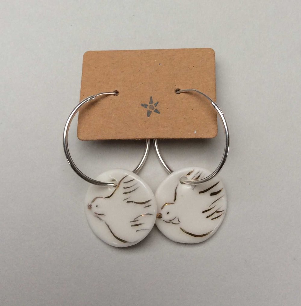 Circle Hoop Earrings with Swallows  Parian, 24ct Gold Lustre, Sterling Silver  £66