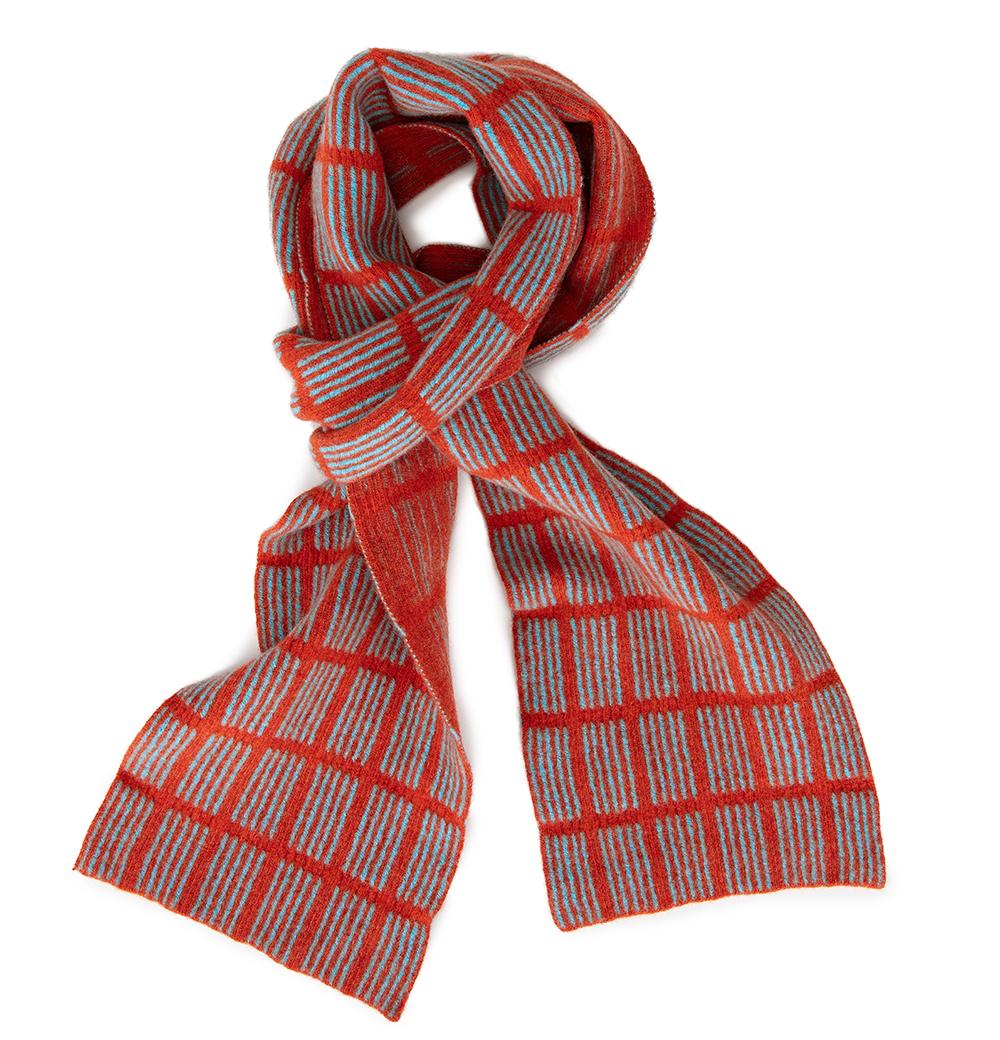 Check Scarf Orange & Aqua  Lambs Wool  £74