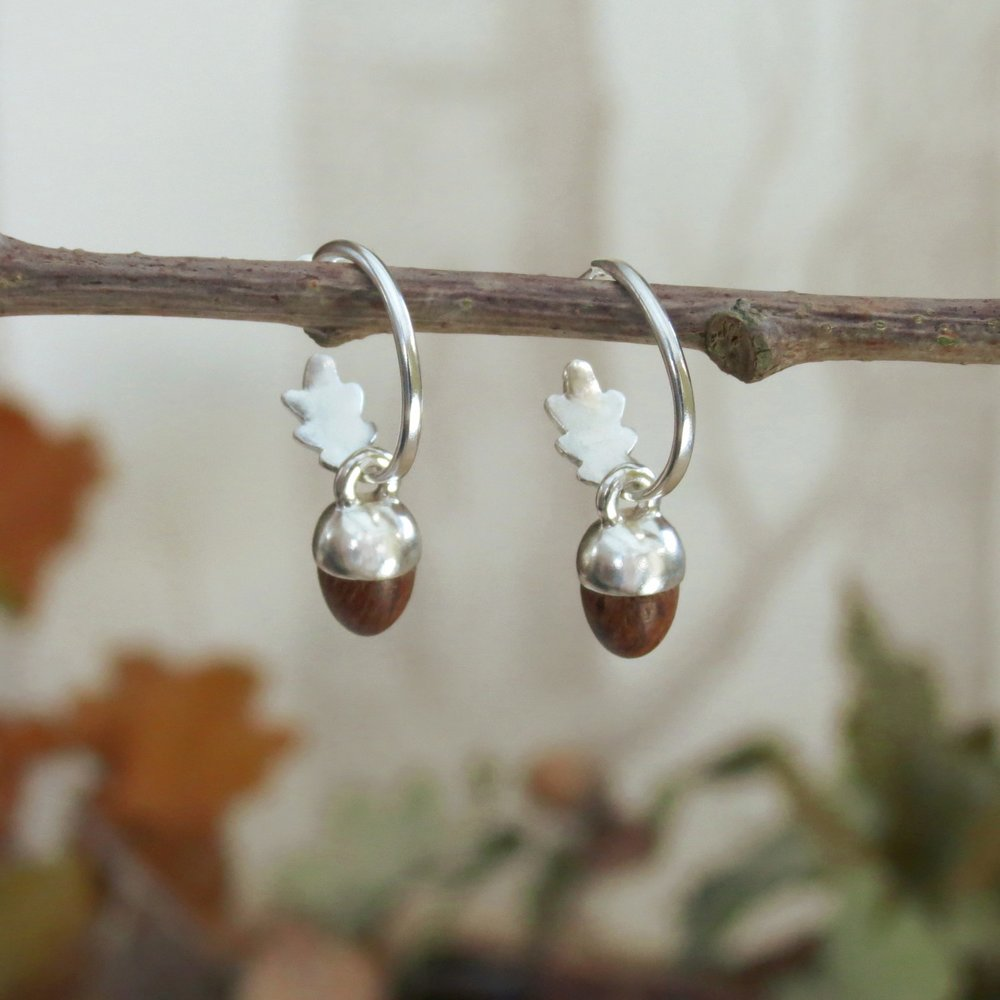 Acorn and Oak Leaf Earrings  Oak and sterling silver / oak and 18ct yellow gold vermeil / silver hoops with gold vermeil acorn cups and oak acorns  £105