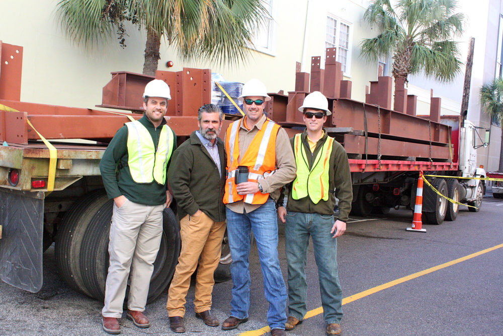 Mark Regalbuto and Andy Meihaus (center) with RUC project managers Isaac Fournier and Cotes Simons.