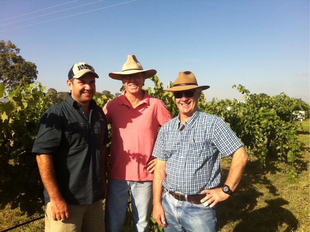 Jacob Stein (YEATES Winemaker), Sandy Yeates (YEATES Vigneron) & Mike De Garis (Wine Consultant) in the vineyard.