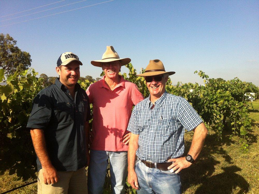 Sandy, Jacob Stein (winemaker) & Mike DeGaris (wine consultant) talking shop