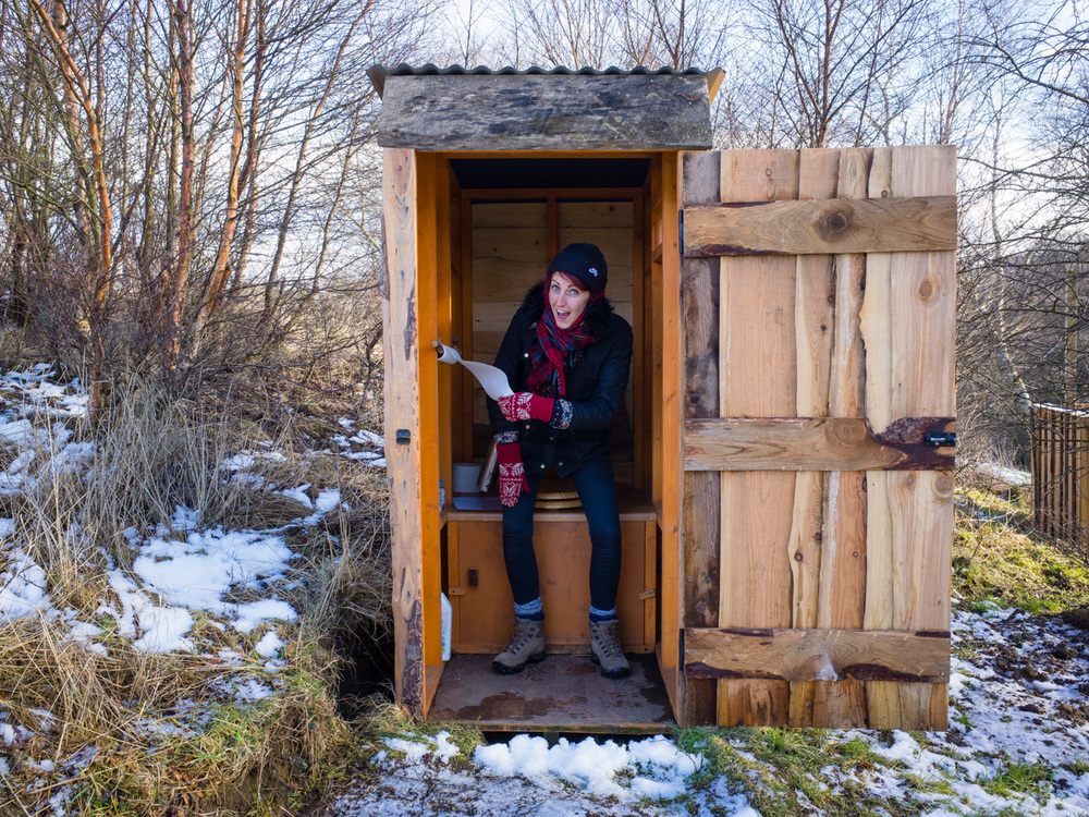 Our own sawdust toilet situated a hop and a skip away from our yurt. Cold but clean!
