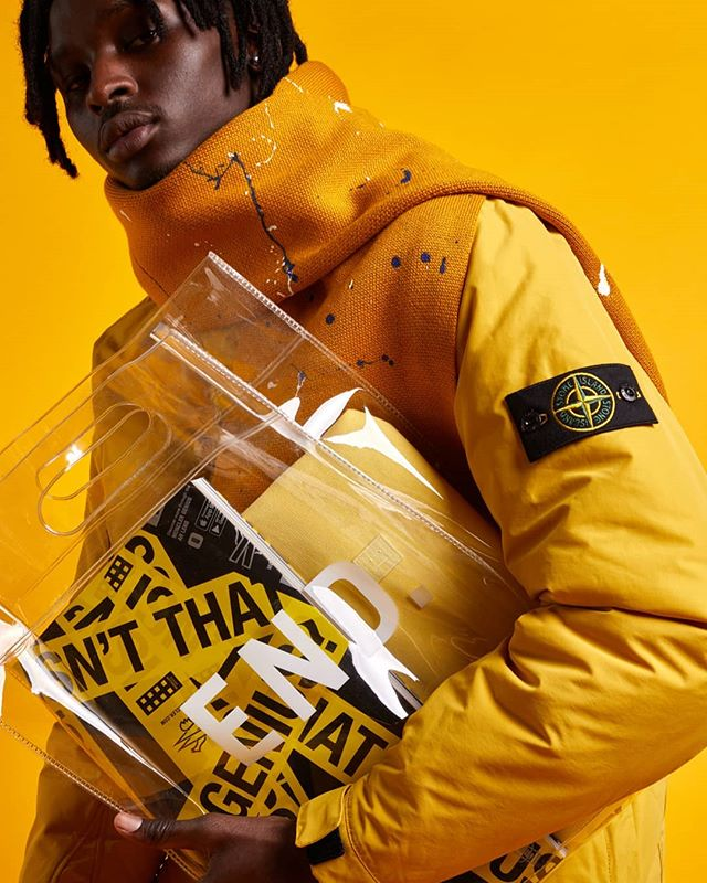 Transparent bags.  Shot for @end_clothing  #fashionphotography #stoneisland #clearbag #colour #yellow