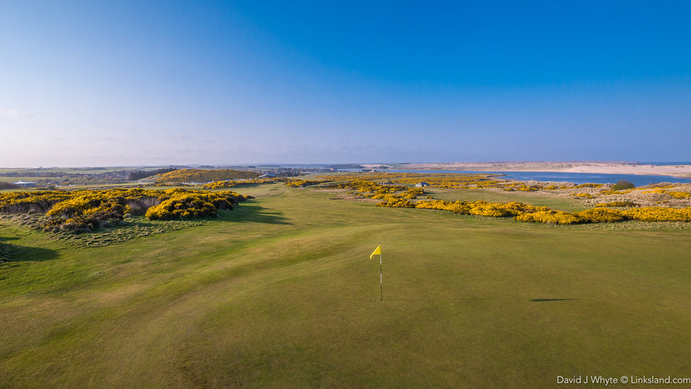 The view from the 8th green takes in the original 9-hole course, the estuary and Forvie Sands
