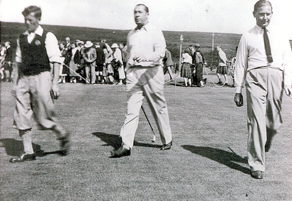 Baldy Craig, Walter Hagen & Joe Kirkwood at the old 7th at Machrie Golf & Tennis Club, Arran