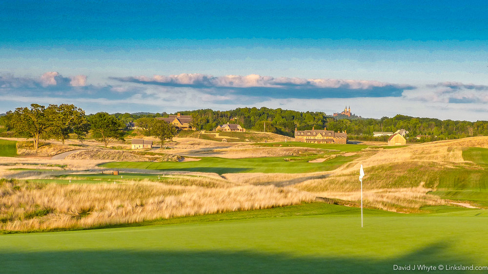 From almost any point on the Erin Hills course, you can see the neo-Romanesque architecture of 'Holy Hill Basilica' rising in the distance.