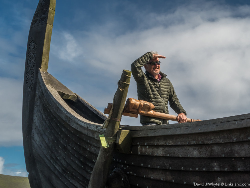 """Is that the coast of Newfoundland I spy?"" Steering the  Viking Longboat 'Skidbladner'"