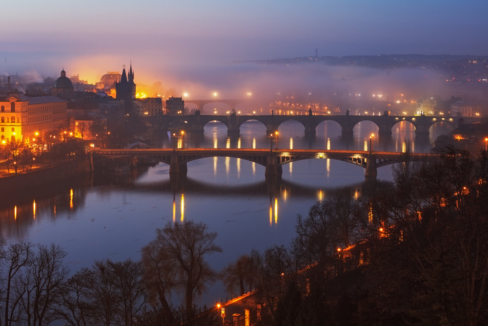 The Vltava River is crossed by 17 bridges including 15th century Charles Bridge