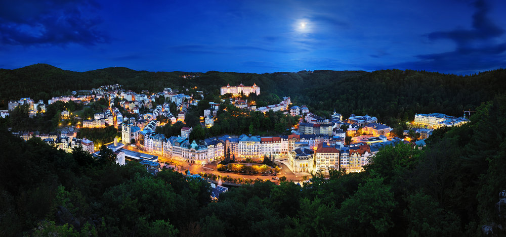 The town of Karlovy Vary is beautiful at night