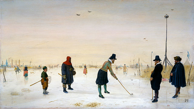 'Skaters playing kolf' . Ca. 1625 by  Hendrick Avercamp , a Dutch painter born in Amsterdam in the late 16th century. Avercamp specialised in winter landscapes with a clear narrative style.