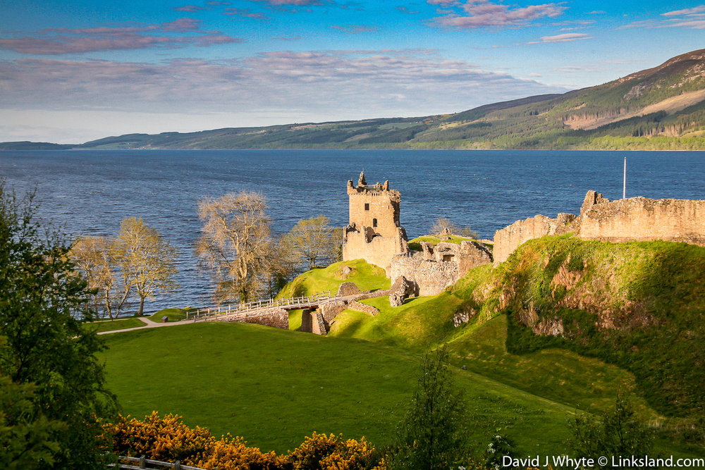 The ruins of Urquhart Castle date from the 13th to 16th centuries. Nessie Hunters keep a close eye on the water from the castle's keeps.