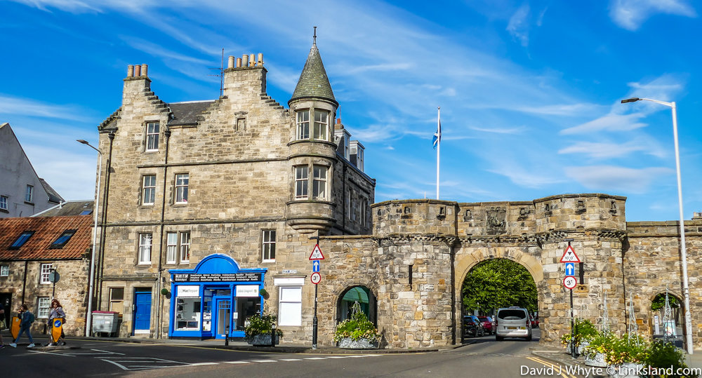 Entrance to South Street, The West Port of St Andrews was first constructed in 1587
