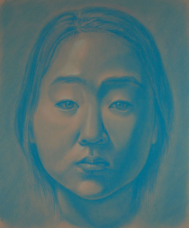 "Self-Portait   Blue pastel pencil, 16"" x 19"""