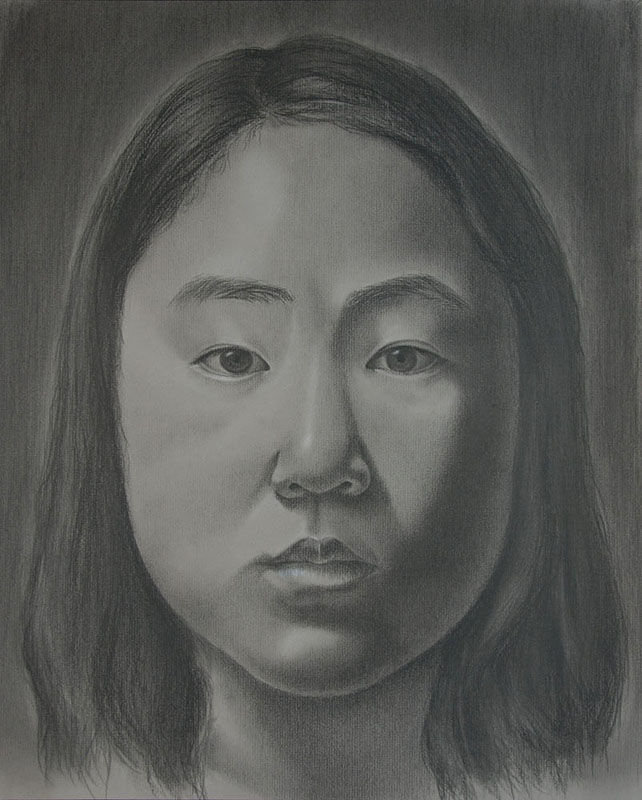 "Self-Portrait   Black conte, 16"" x 20"""