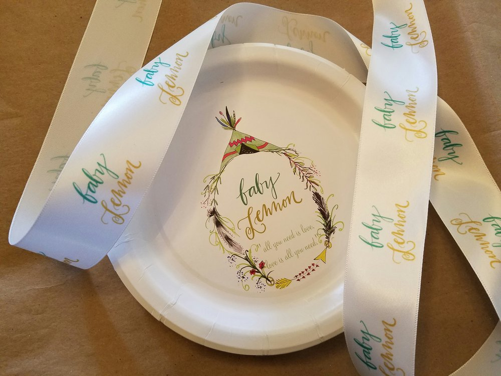 Paper cake plates and customized ribbon...