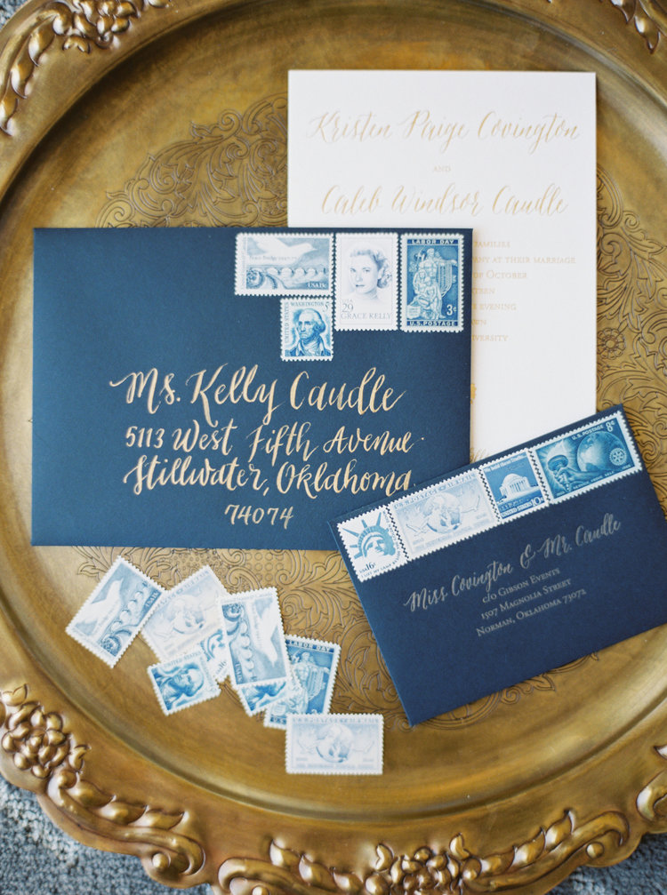 Navy Blue Envelope with Modern Calligraphy. Gold Shimmery Ink Photographer: https://www.instagram.com/watsonandpayne/ Event Designer: http://www.gibsonevents.com/