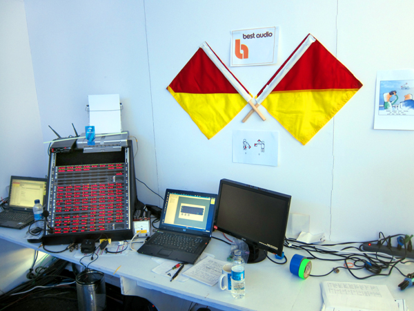 Control position for Comms. Semaphore flags on wall are backup system.