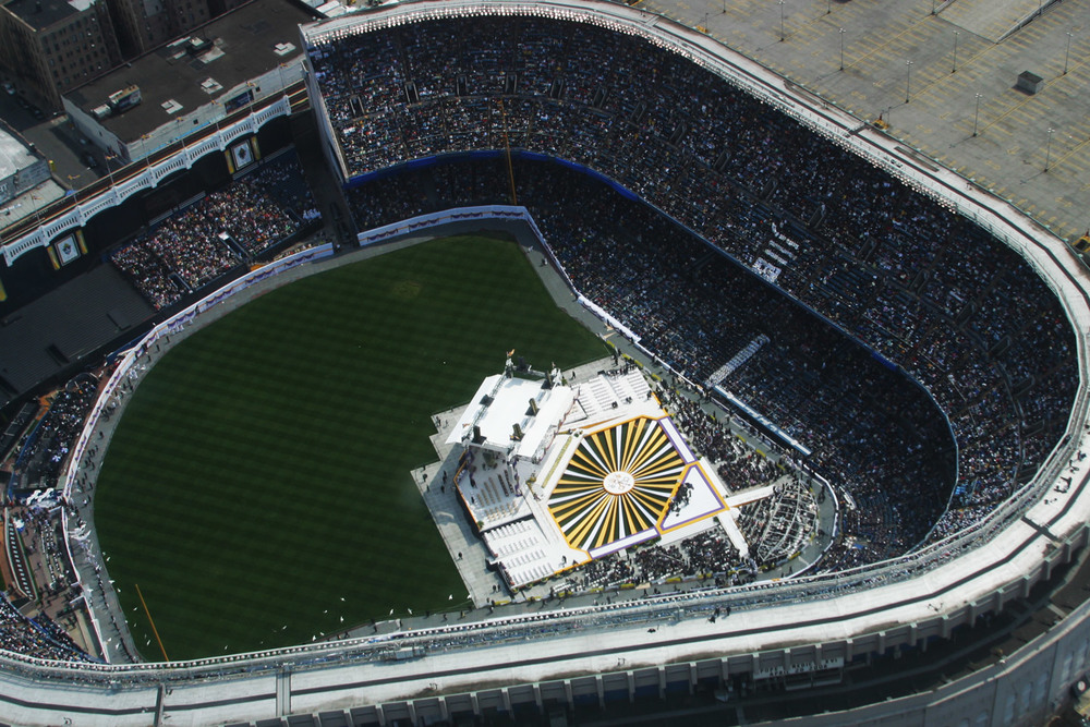 The stage at Yankee Stadium. This is a photo supplied by the government since no other aircraft were allowed to be in the area.