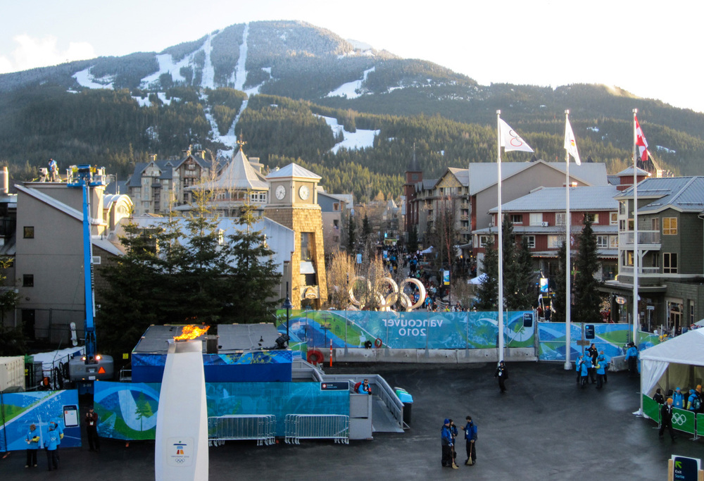 View from Whistler Metals Plaza control tower back door at the Vancouver Olympics.
