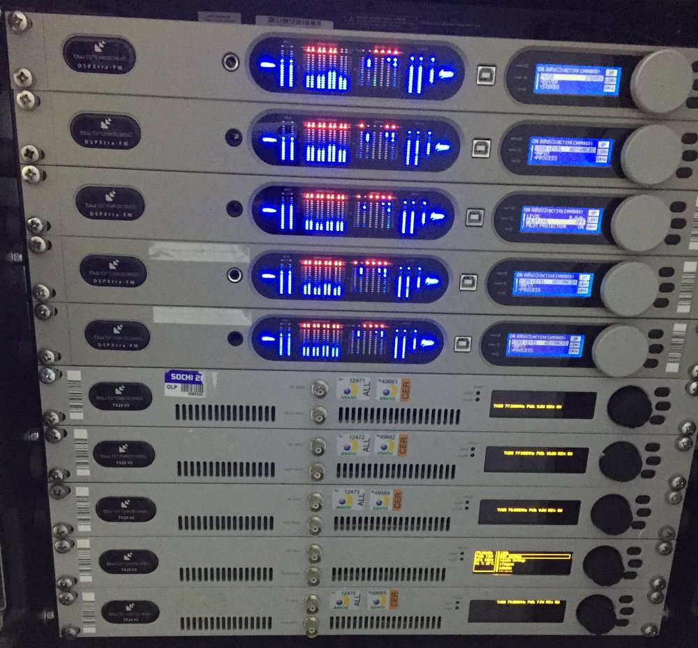 This is the FM Broadcast system from BW Broadcast.  The top 5 are DSP FM processors and the bottom 5 are the FM Transmitters