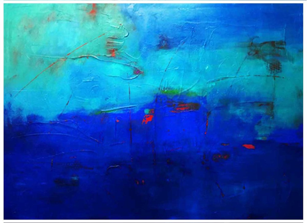 """Rhapsody in Blue"" canvas, 42""X58"" SOLD"