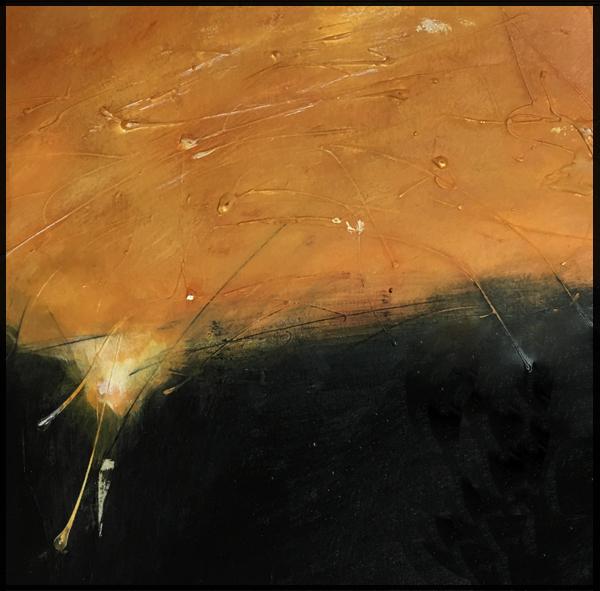 """""""Sunset Landscape"""" framed, matted paper 17""""X 17"""""""