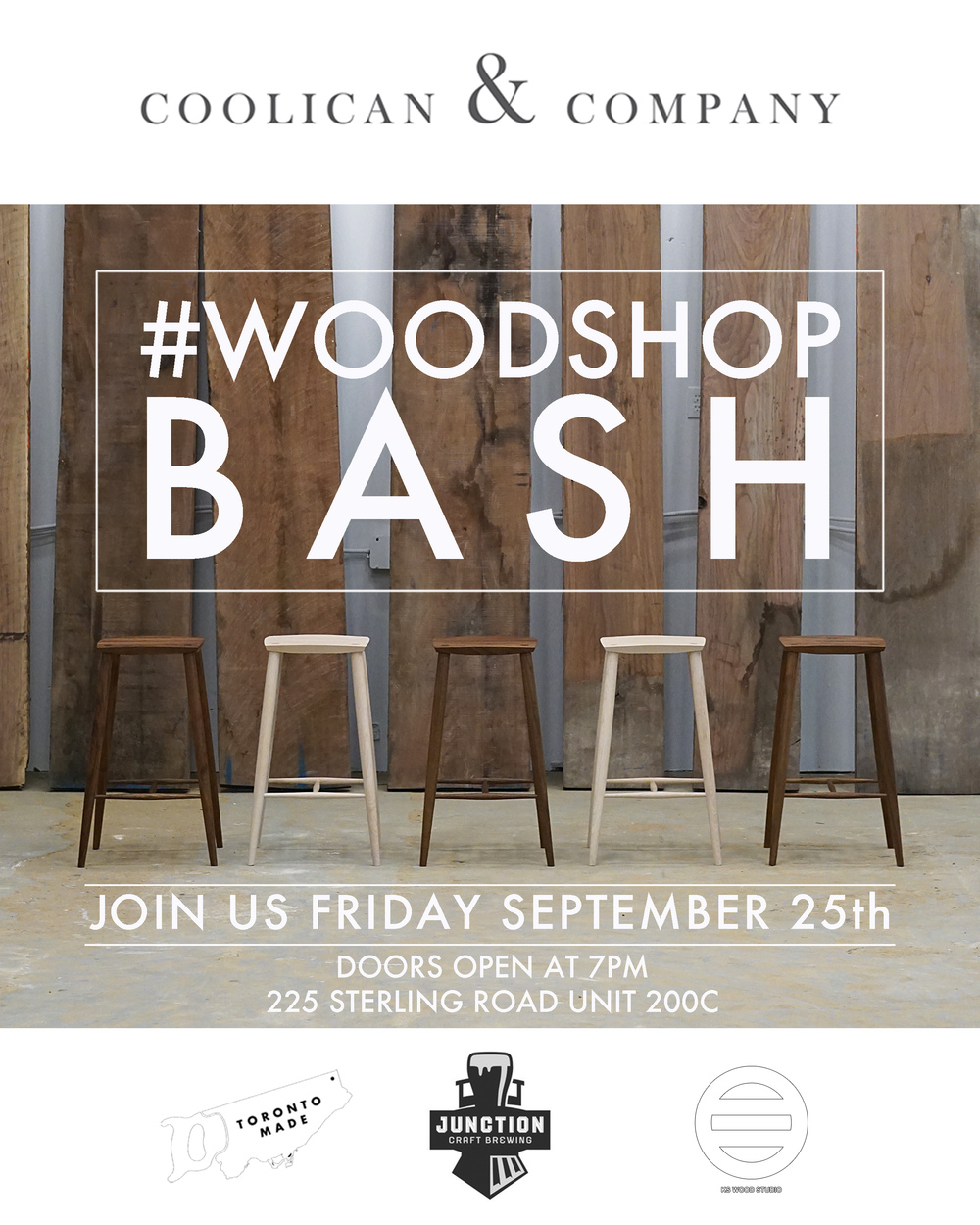Come celebrate the opening of our new studio showroom.    When:  Friday September 25th 7PM till late   Where:  225 Sterling Road Unit 200C   Why : We've got a big stack of records, and a great new space. So bring your friends for a night at the woodshop. Oh, did I mention our friends over at  Junction Craft Brewing  will be bringing the beer?   Follow us on  instagram  and #woodshopbash for a chance to win some goods!