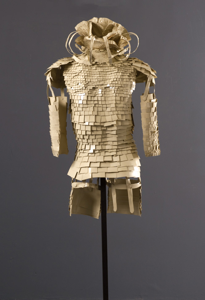 Suit of Armor #3 (back view) ,  2010   Recyclable plastic containers and lids, glue, spray paint, clear glaze   40 x 24 x 18 in | 231 x 61 x 46 cm