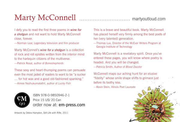 Postcard (back) for promoting Marty McConnell's book, Wine for a Shotgun and book tour