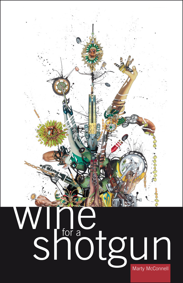 Book cover design for Marty McConnell's book, Wine for a Shotgun