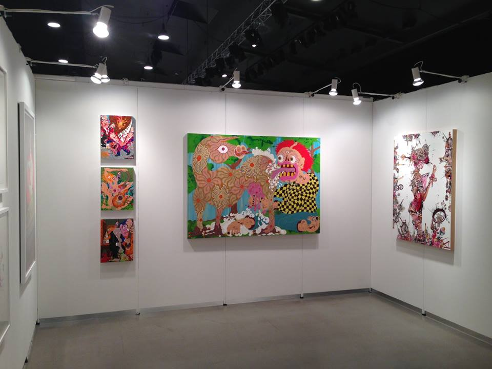 View of Gallery Poulsen booth at Art Herning, 2015 with Aaron Johnson (left) and Debra Hampton (right)