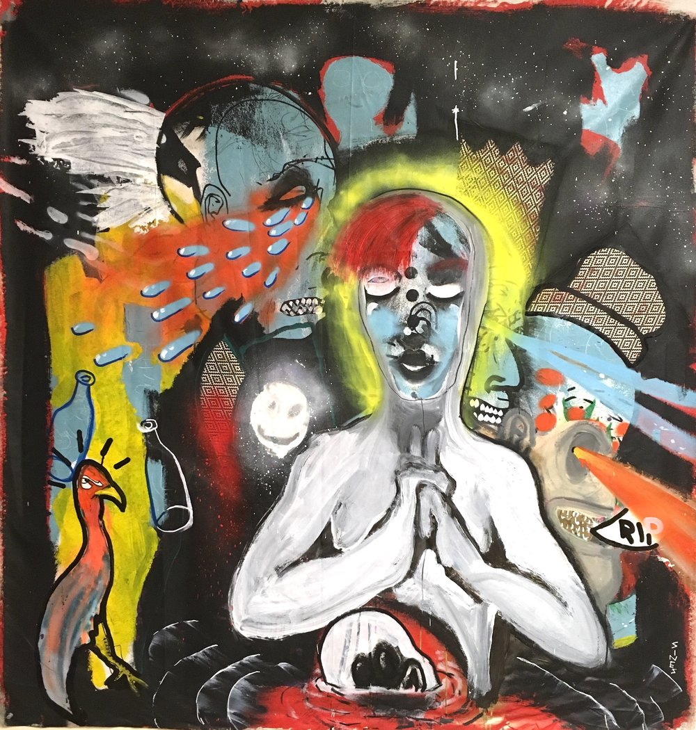 The March  Acrylic, collage, oil marker and spray paint on canvas  60 x 62""