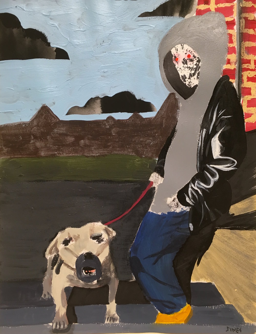 Dog and Walker  Acrylic and ink on paper  9 x 12""