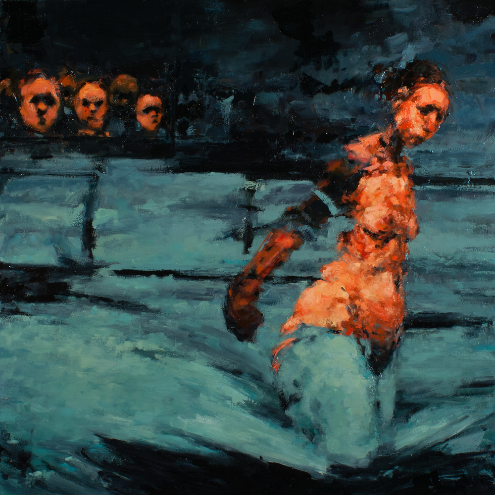"Closing Argument, oil on canvas, 32"" x 32"" x 2"", 2013"