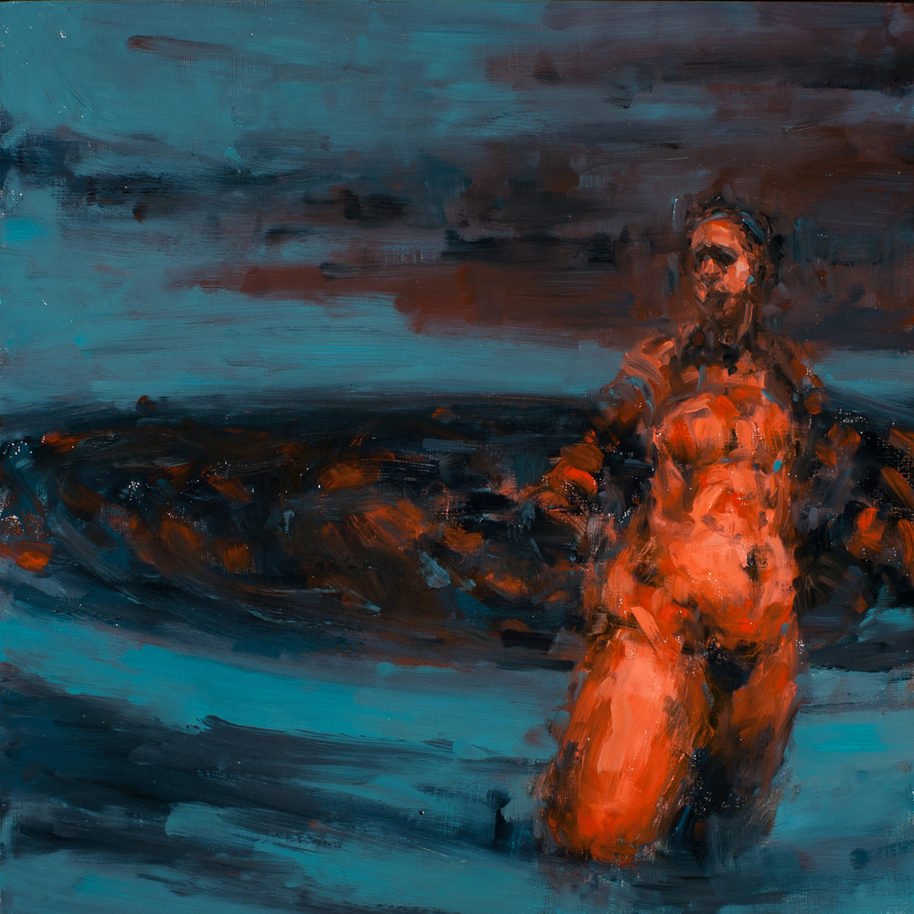 "Fish Story, oil on board, 16"" x 16"" x 2"", 2012"