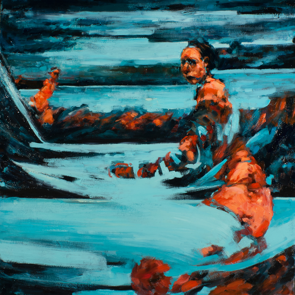 "Braced, oil on canvas, 32"" x 32"" x 2"", 2012"