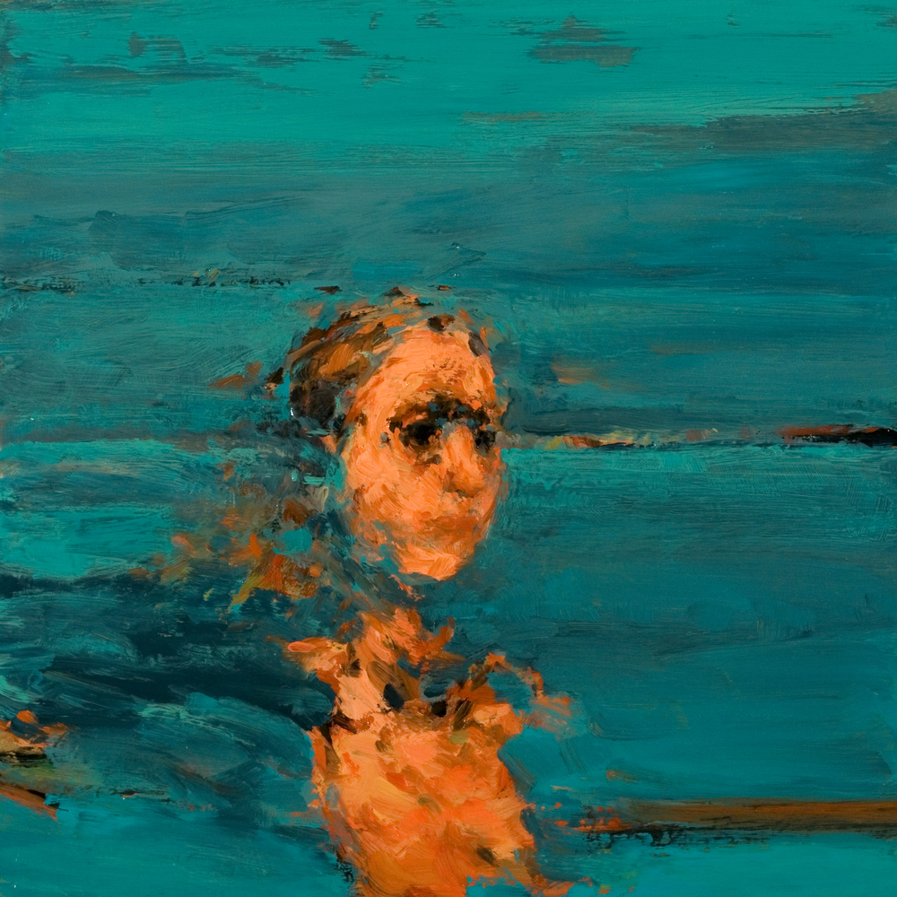"Looking IV, oil on board, 12"" x 12"" x 2"", 2011"