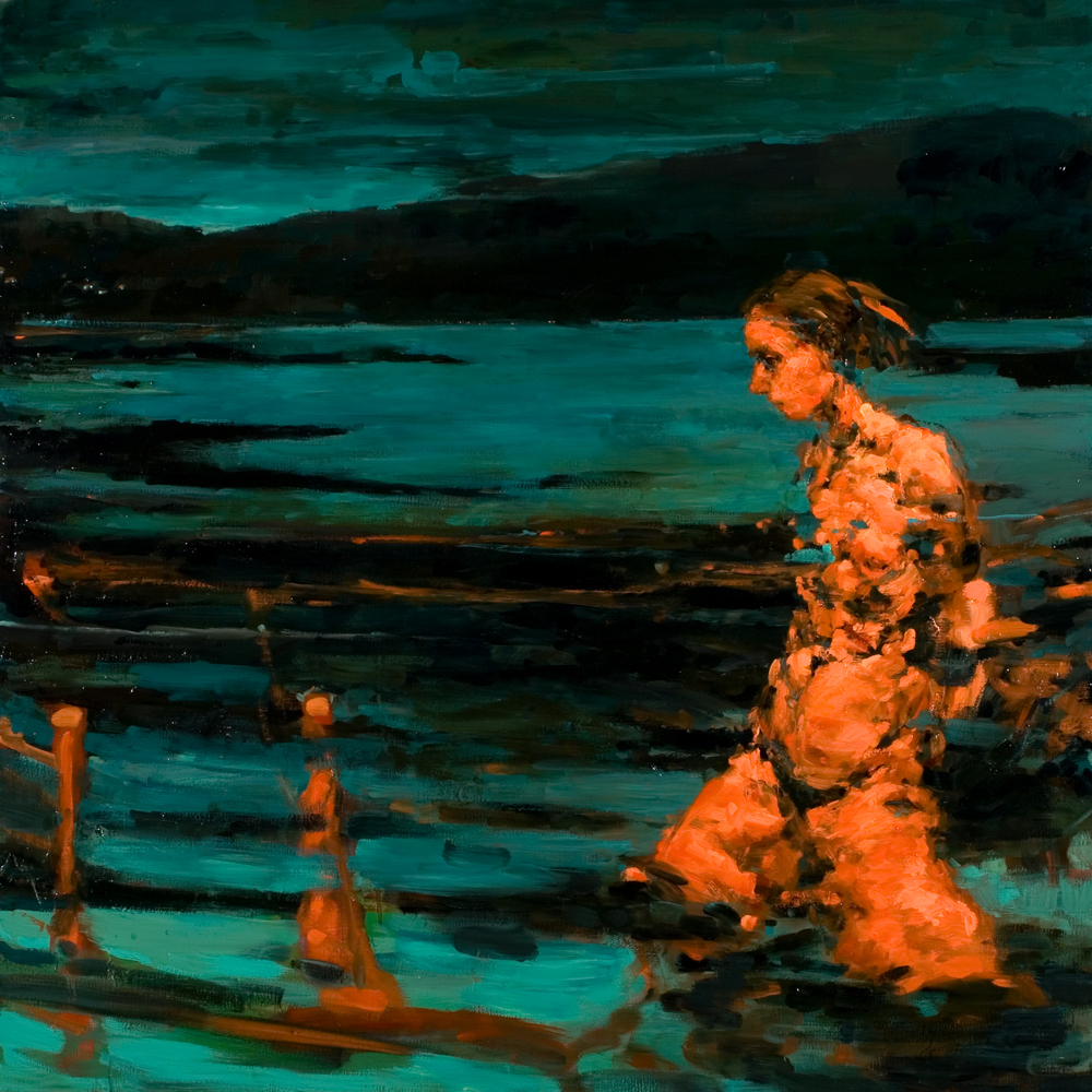 "Submerge, oil on canvas, 42"" x 42"" x 2"", 2011"