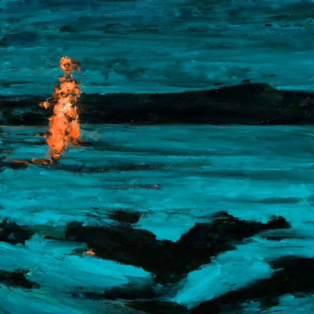 "Night Swim, oil on board, 16"" x 16"" x 2"", 2011"