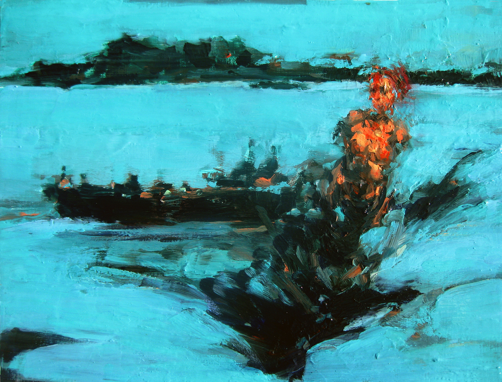"Deluge (Night Ship), oil on board, 9"" x 12"", 2011"