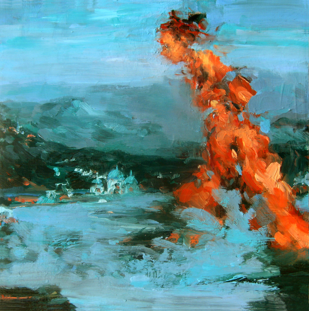 "Stride, oil on board, 8"" x 8"", 2011"